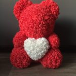 Мишка из роз+сердце