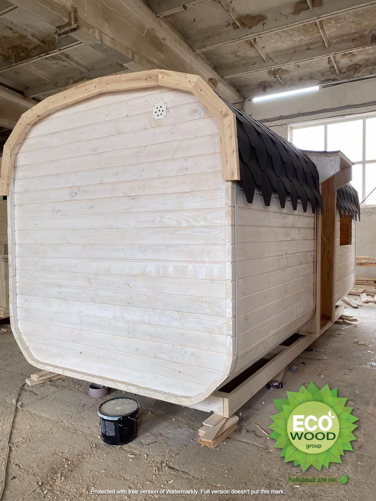 Мобильная баня квадро  с душевой кабинкой.